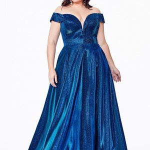Cindrella Dresses - Plus Size Off Shoulder V-Neck Dress CD210C